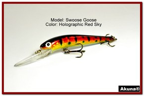 "Akuna Swoose Goose Medium Diving 4.7"" Fishing Lure in color ""Red Sky"" [BP 47-81]"