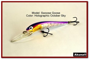 "Akuna Swoose Goose Medium Diving 4.7"" Fishing Lure in color ""October Sky"" [BP 47-82]"