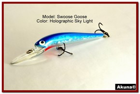 "Akuna Swoose Goose Medium Diving 4.7"" Fishing Lure in color ""Sky Light"" [BP 47-83]"