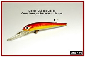 "Akuna Swoose Goose Medium Diving 4.7"" Fishing Lure in color ""AZ Sunset"" [BP 47-84]"