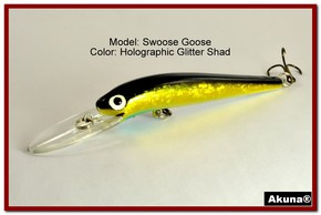 "Akuna Swoose Goose Medium Diving 4.7"" Fishing Lure in color ""Glitter Shad"" [BP 47-85]"