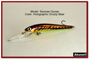 "Akuna Swoose Goose Medium Diving 4.7"" Fishing Lure in color ""Grizzly Bear"" [BP 47-88]"