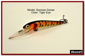 "Akuna Swoose Goose Medium Diving 4.7"" Fishing Lure in color ""Tiger Eye"" [BP 47-94]"