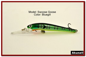 "Akuna Swoose Goose Medium Diving 4.7"" Fishing Lure in color ""Bluegill"" [BP 47-97]"
