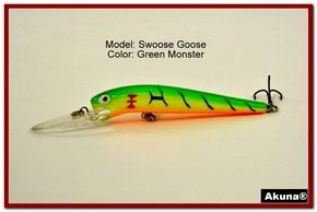 "Akuna Swoose Goose Medium Diving 4.7"" Fishing Lure in color ""Green Monster"" [BP 47-98]"