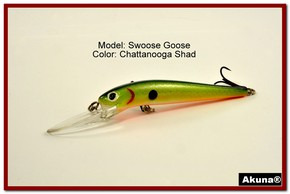 "Akuna Swoose Goose Medium Diving 4.7"" Fishing Lure in color ""Chattanooga Shad"" [BP 47-99]"