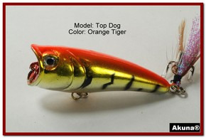 "Akuna Top Dog 2.4"" Popper Fishing Lure in Orange Tiger [BP 48-78]"