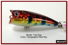 "Akuna Top Dog 2.4"" Popper Fishing Lure in Red Sky [BP 48-81]"