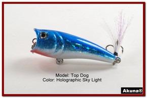 "Akuna Top Dog 2.4"" Popper Fishing Lure in Sky Light [BP 48-83]"