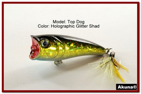 "Akuna Top Dog 2.4"" Popper Fishing Lure in Glitter Shad [BP 48-85]"