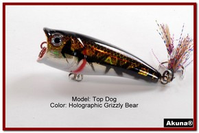"Akuna Top Dog 2.4"" Popper Fishing Lure in Grizzly Bear [BP 48-88]"