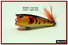 "Akuna Top Dog 2.4"" Popper Fishing Lure in Tiger Eye [BP 48-94]"