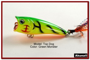 "Akuna Top Dog 2.4"" Popper Fishing Lure in Green Monster [BP 48-98]"