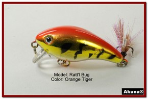 "Akuna Ratt'l Bug 2.6"" Crankbait Fishing Lure in color ""Orange Tiger"" [BP 52-78]"