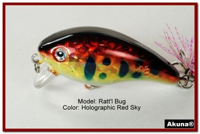 "Akuna Ratt'l Bug 2.6"" Crankbait Fishing Lure in color ""Red Sky"" [BP 52-81]"
