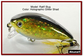 "Akuna Ratt'l Bug 2.6"" Crankbait Fishing Lure in color ""Glitter Shad"" [BP 52-85]"
