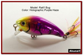 "Akuna Ratt'l Bug 2.6"" Crankbait Fishing Lure in color ""Purple Haze"" [BP 52-87]"