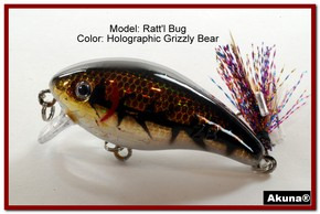 "Akuna Ratt'l Bug 2.6"" Crankbait Fishing Lure in color ""Grizzly Bear"" [BP 52-88]"