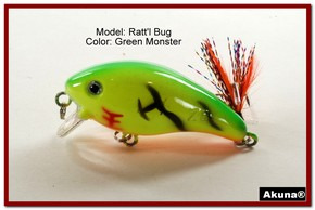 "Akuna Ratt'l Bug 2.6"" Crankbait Fishing Lure in color ""Green Monster"" [BP 52-98]"