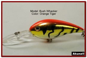 "Akuna Bush Whacker 4"" Diving Fishing Lure in  Orange Tiger [BP 55-78]"