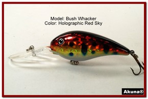 "Akuna Bush Whacker 4"" Diving Fishing Lure in  Red Sky [BP 55-81]"