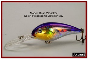 "Akuna Bush Whacker 4"" Diving Fishing Lure in  October Sky [BP 55-82]"