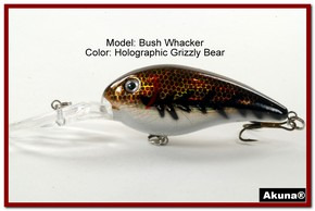 "Akuna Bush Whacker 4"" Diving Fishing Lure in  Grizzly Bear [BP 55-88]"