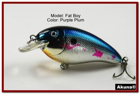 "Akuna Fat Boy 3.2"" Crankbait Fishing Lure in  Purple Plum [BP 56-89]"