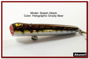 "Akuna Splash Attach 3.4"" Topwater Popper Fishing Lure in  Grizzly Bear [BP 75-88]"