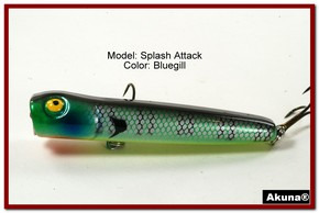 "Akuna Splash Attach 3.4"" Topwater Popper Fishing Lure in  Tiger Eye [BP 75-97]"