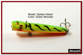 "Akuna Splash Attach 3.4"" Topwater Popper Fishing Lure in  Grey Goose [BP 75-98]"