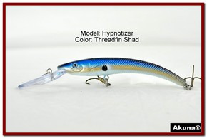 "Akuna Hypnotizer 5.9"" Diving Fishing Lure in Threadfin Shad [BP 82-91]"