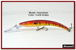 "Akuna Hypnotizer 5.9"" Diving Fishing Lure in Coral Snake [BP 82-93]"