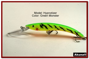 "Akuna Hypnotizer 5.9"" Diving Fishing Lure in Green Monster [BP 82-98]"