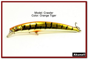 "Akuna  Crawler 5.3"" Minnow Fishing Lure in color Orange Tiger [BP 86-78]"