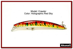 "Akuna  Crawler 5.3"" Minnow Fishing Lure in color Red Sky [BP 86-81]"