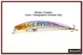 "Akuna  Crawler 5.3"" Minnow Fishing Lure in color October Sky [BP 86-82]"
