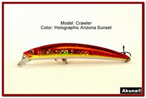 "Akuna  Crawler 5.3"" Minnow Fishing Lure in color AZ Sunset [BP 86-84]"