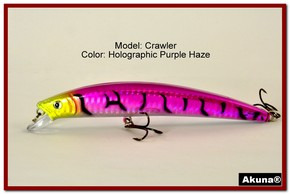 "Akuna  Crawler 5.3"" Minnow Fishing Lure in color Purple Haze [BP 86-87]"