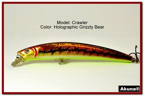 "Akuna  Crawler 5.3"" Minnow Fishing Lure in color Grizzly Bear [BP 86-88]"