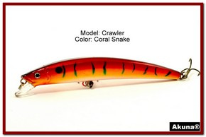 "Akuna  Crawler 5.3"" Minnow Fishing Lure in color Coral Snake [BP 86-93]"