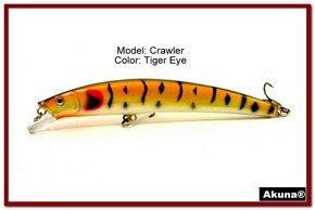 "Akuna  Crawler 5.3"" Minnow Fishing Lure in color Tiger Eye [BP 86-94]"