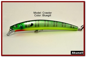 "Akuna  Crawler 5.3"" Minnow Fishing Lure in color Bluegill [BP 86-97]"