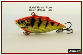 "Akuna Rattlin' Rover Lipless Series 2.5 inch Sinking Lure in color ""Orange Tiger"" [BP 89-78]"