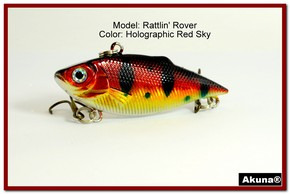 "Akuna Rattlin' Rover Lipless Series 2.5 inch Sinking Lure in color ""Red Sky"" [BP 89-81]"