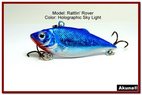 "Akuna Rattlin' Rover Lipless Series 2.5 inch Sinking Lure in color ""Sky Light"" [BP 89-83]"