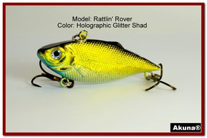 "Akuna Rattlin' Rover Lipless Series 2.5 inch Sinking Lure in color ""Glitter Shad"" [BP 89-85]"