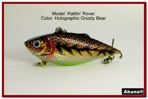 "Akuna Rattlin' Rover Lipless Series 2.5 inch Sinking Lure in color ""Grizzly Bear"" [BP 89-88]"