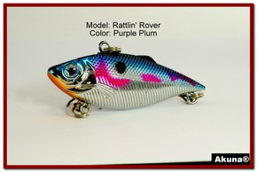 "Akuna Rattlin' Rover Lipless Series 2.5 inch Sinking Lure in color ""Purple Plum"" [BP 89-89]"