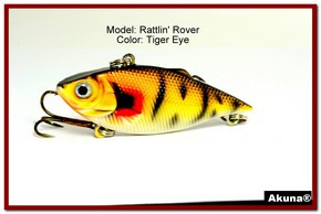 "Akuna Rattlin' Rover Lipless Series 2.5 inch Sinking Lure in color ""Tiger Eye"" [BP 89-94]"